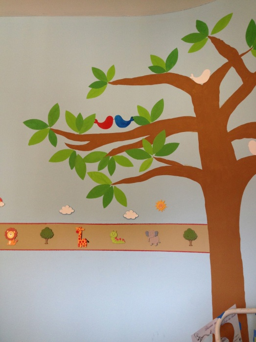 We added leaves and some birds to the mural :)